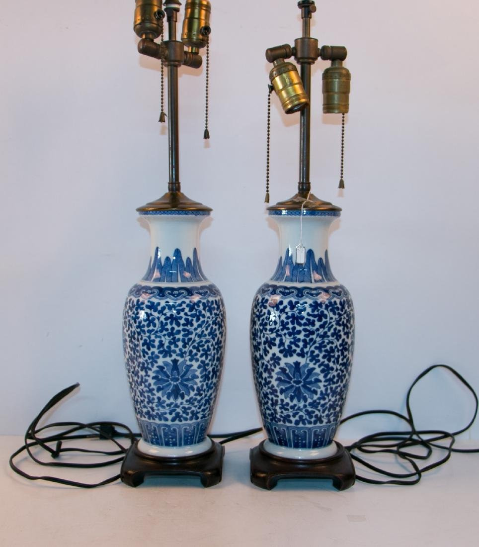 A pair of blue&white lamps