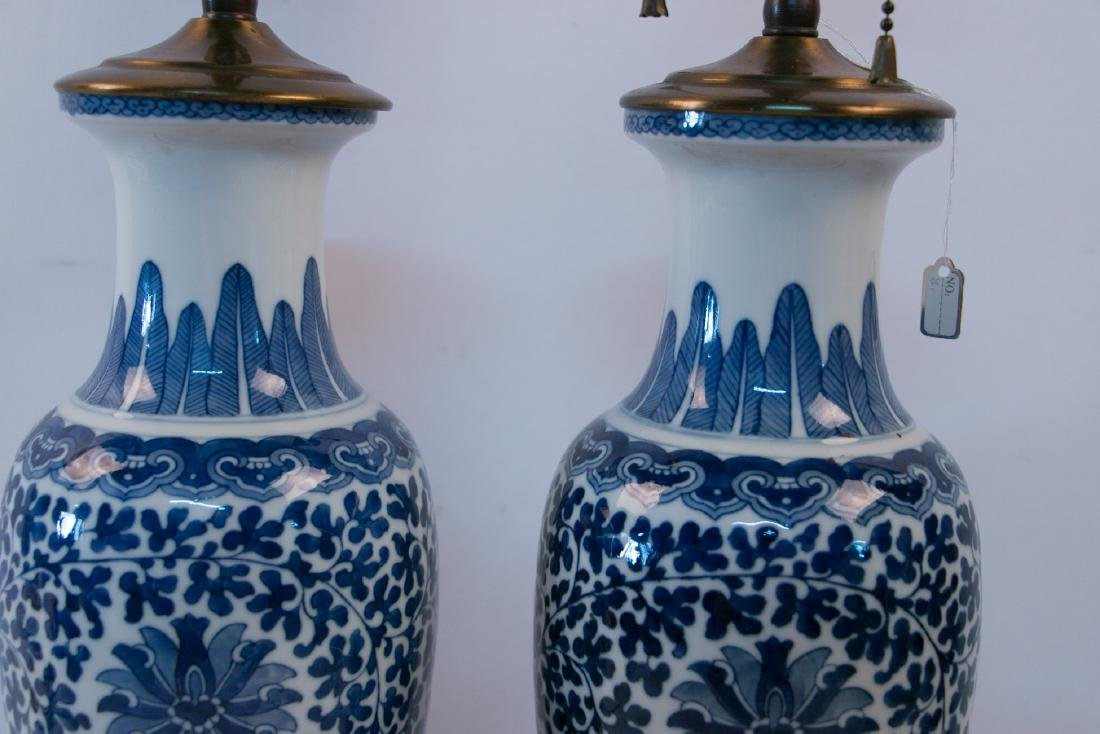 A pair of blue&white lamps - 4