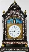 Antique Chinese Inlaid Rosewood Automaton Clock