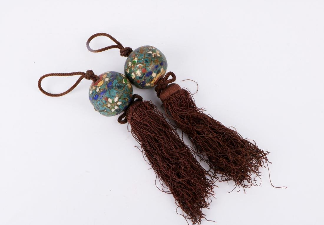 A pair of chinese cloisonne pendant - 2