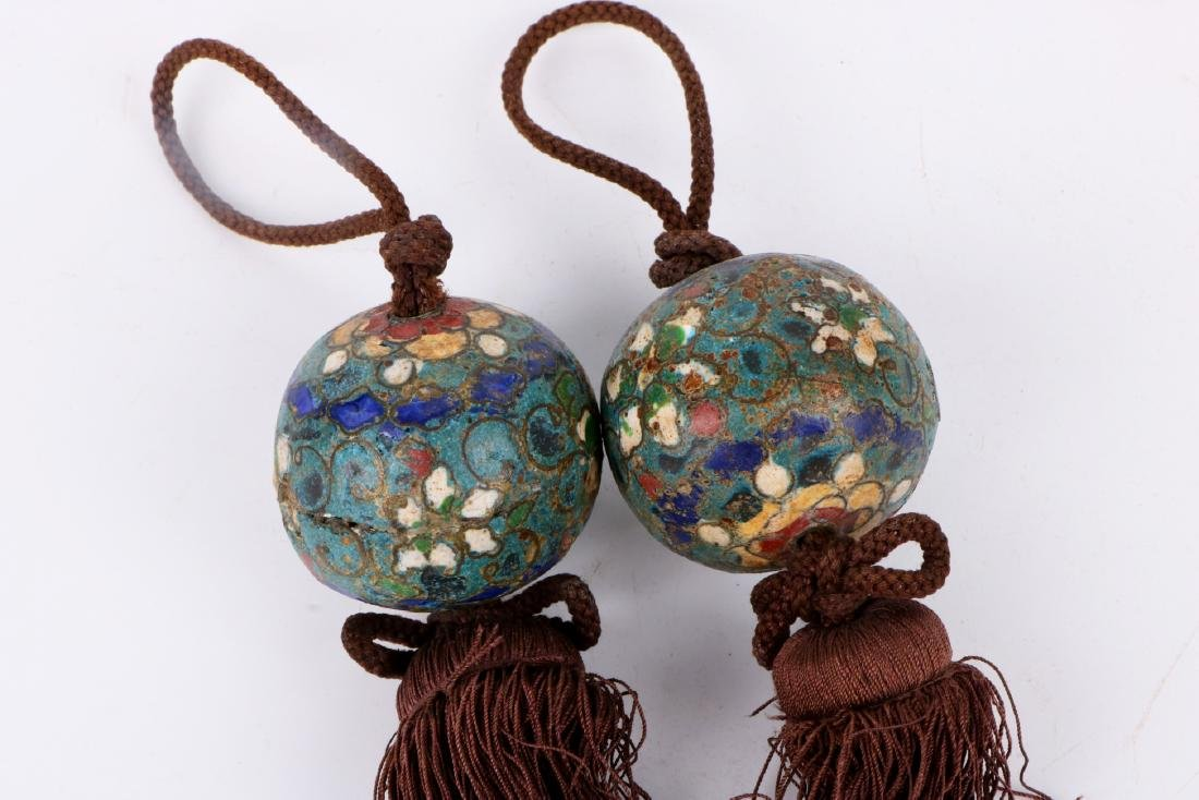 A pair of chinese cloisonne pendant - 3
