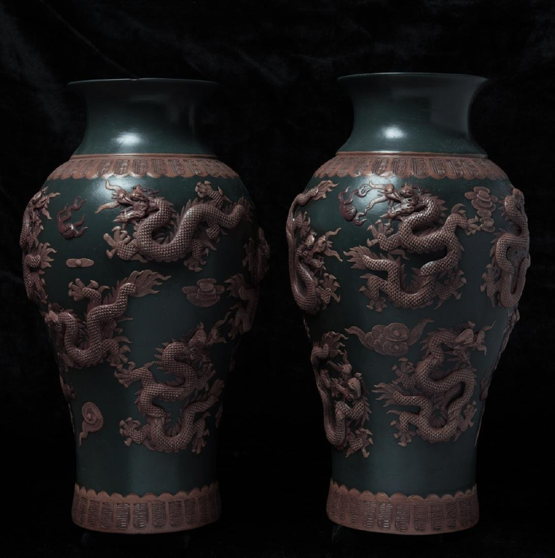 Pair of Asian zi-sand vases - 2