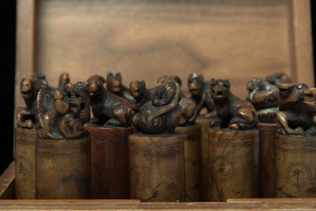Group of Chinese 12 pc soapstone seal - 2