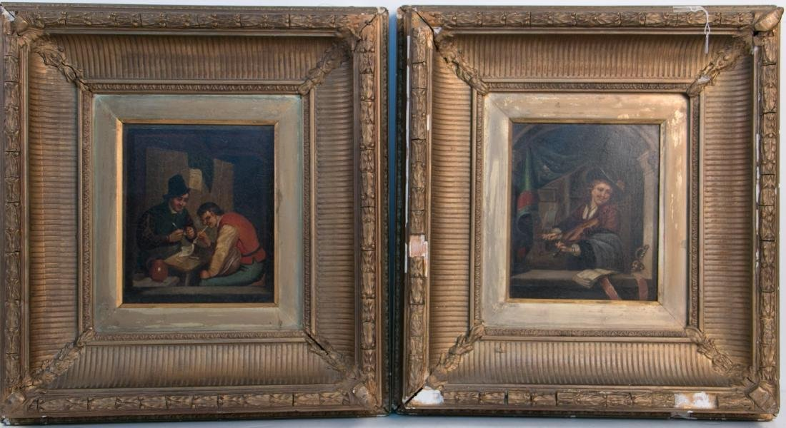 A pair of oil painting on Tin