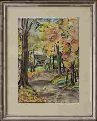 Autumn Scene Watercolor California Listed Artist Carl