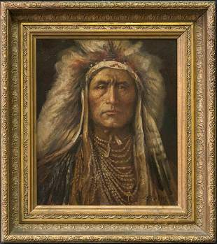 Indian Portrait Original Oil CA/NV/NM Listed Artist