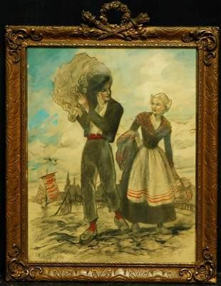 Eugene Van Mieghem (Belgium 1875 - 1930) | Charcoal and
