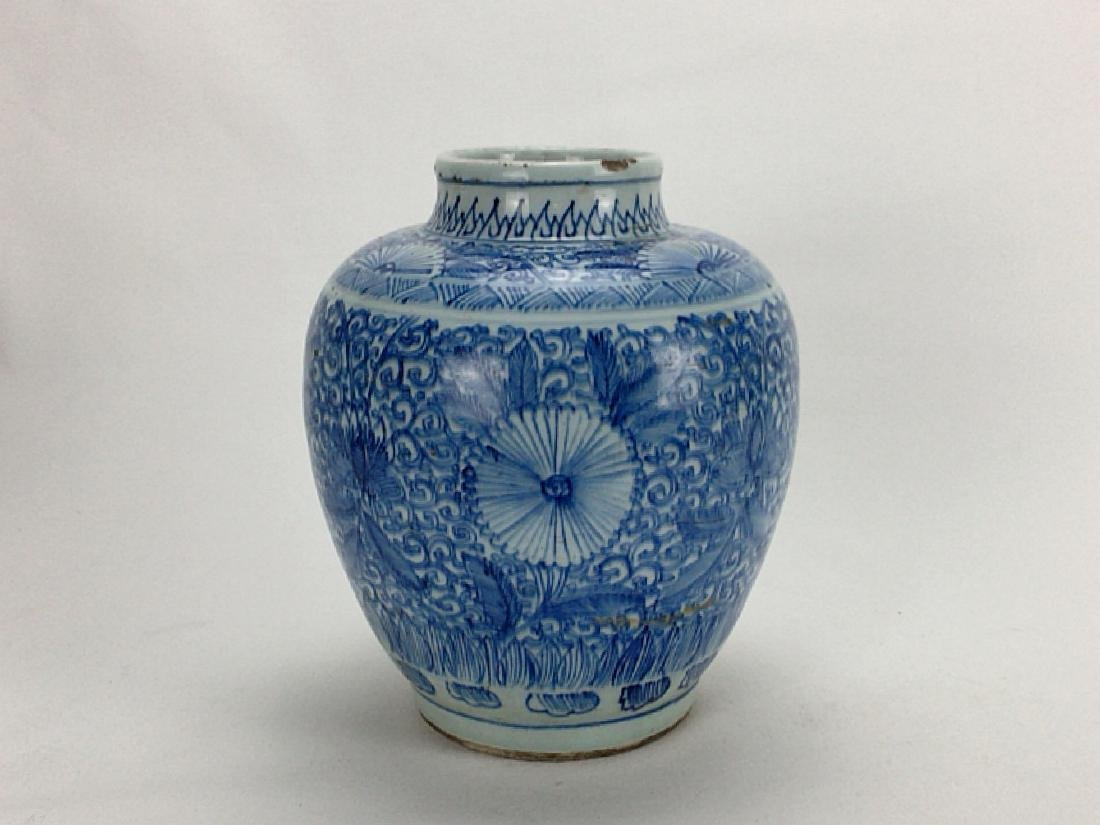 Chinese late Qing Dynasty blue and white jar - 2