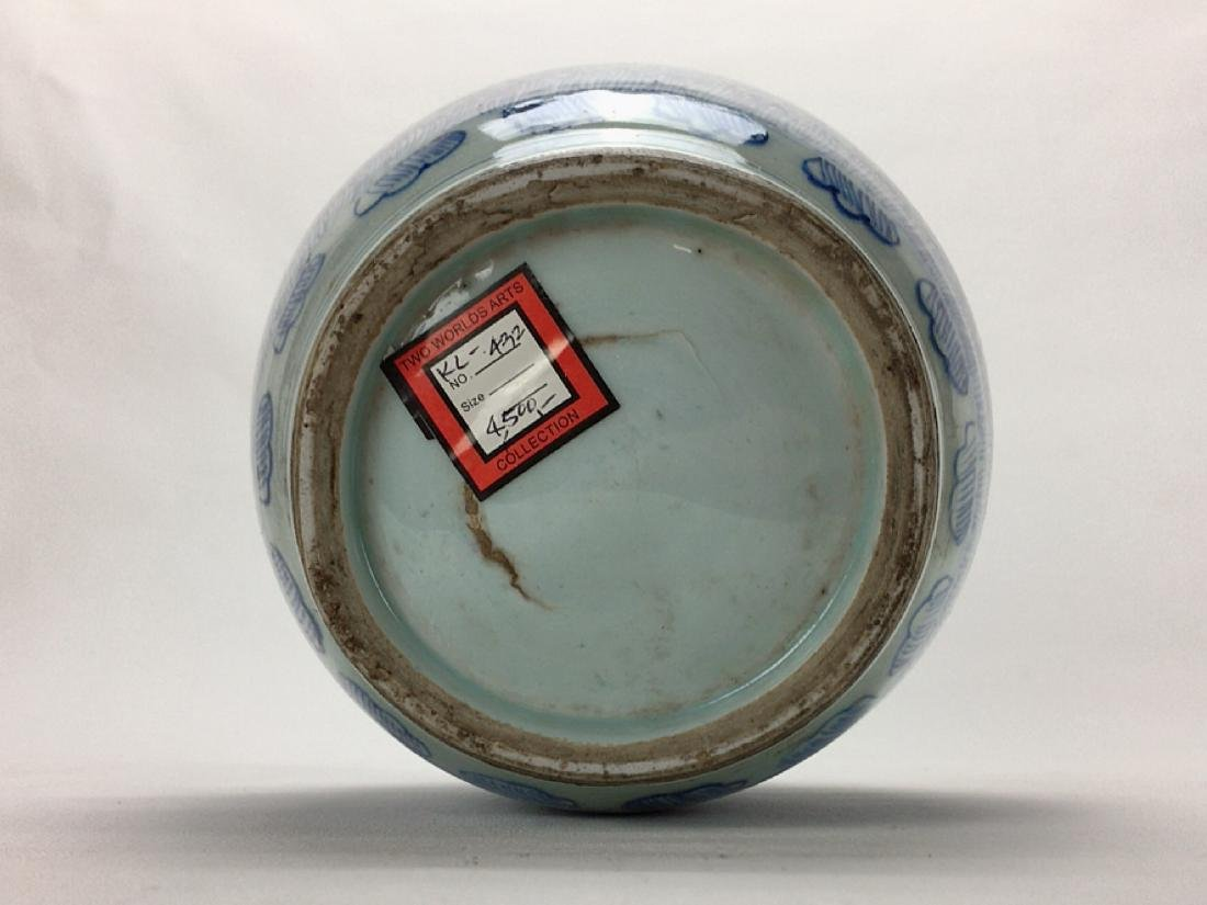 Chinese late Qing Dynasty blue and white jar - 5