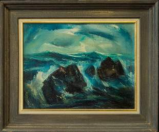 """Vintage American Decorational Oil Painting """"Coast View"""""""