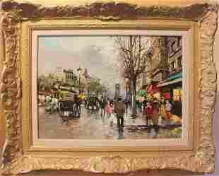 Oil on canvas Les Grandes Boulevard Antoine Blanchard