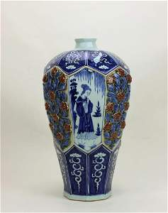 A CHINESE BLUE AND WHITE RED UNDERGLAZED 'FLOWER' VASE,