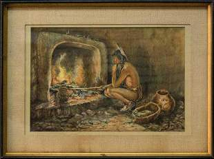 Indian Portrait Watercolor Eanger Irving Couse