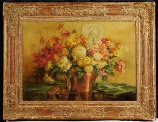 Joseph Henry Sharp | Autumn Flowers, Statues