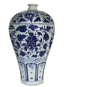 Blue and white octagonal plum bottle of Yuan Dynasty