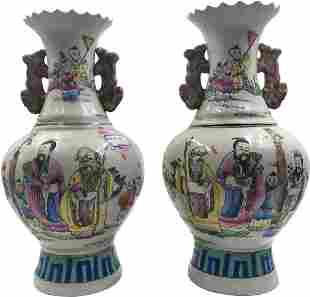Qing Dynasty colorful double bottles with