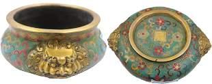 Qianlong Imperial Biaural Drawing Enamel Ear Furnace