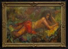 "LiuKang(1911-2005)Singapore Artist Oil""Balinese Lady"""