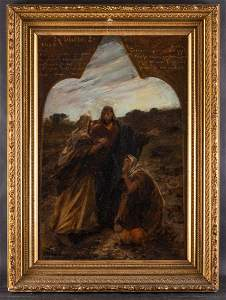 Antique Important Religious Large Oil On Board
