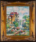 """Large VIntage French Impressionist Oil Painting """"French"""