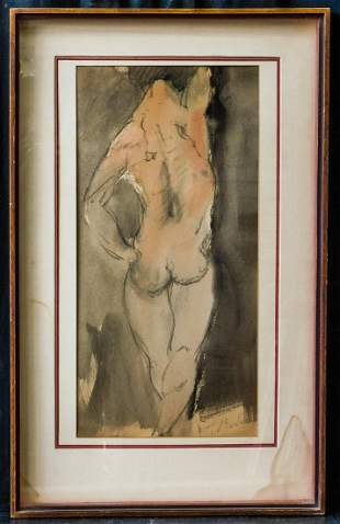Auguste Rodin(France1840-1917)Watercolor/Paper,Nude