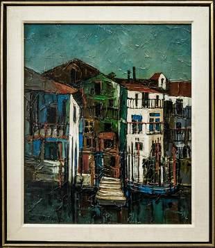 """Listed French Artist Claude Venard(1913-1999)Oil""""Houses"""