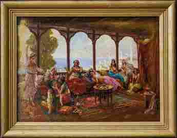 Antique Original Arab Oil Painting Hookah Lounge Scene