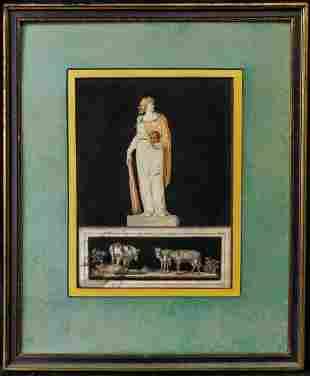 Antique 19th Century Italian Watercolor Painting