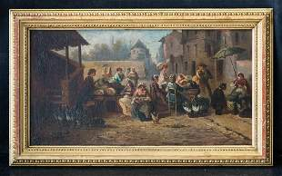 "Florent Crabeels(1829-1896)Flemish Artist Oil""People"