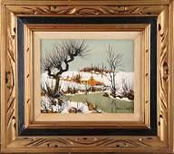 "Impressionist Original Oil On Canvas ""Snow Melt"" By"