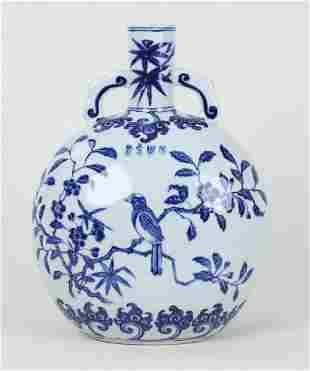 A CHINESE BLUE AND WHITE VASE WITH YONGZHENG MARK