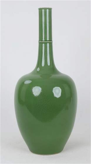 A CHINESE APPLE GREEN GLAZED VASE WITH YONGZHENG MARK