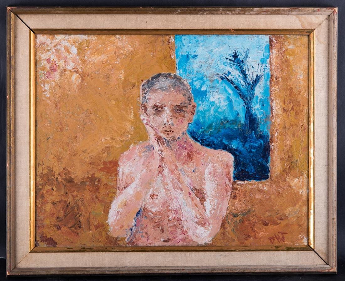 """Vintage Abstract Expressionist Oil Painting """"Portrait"""