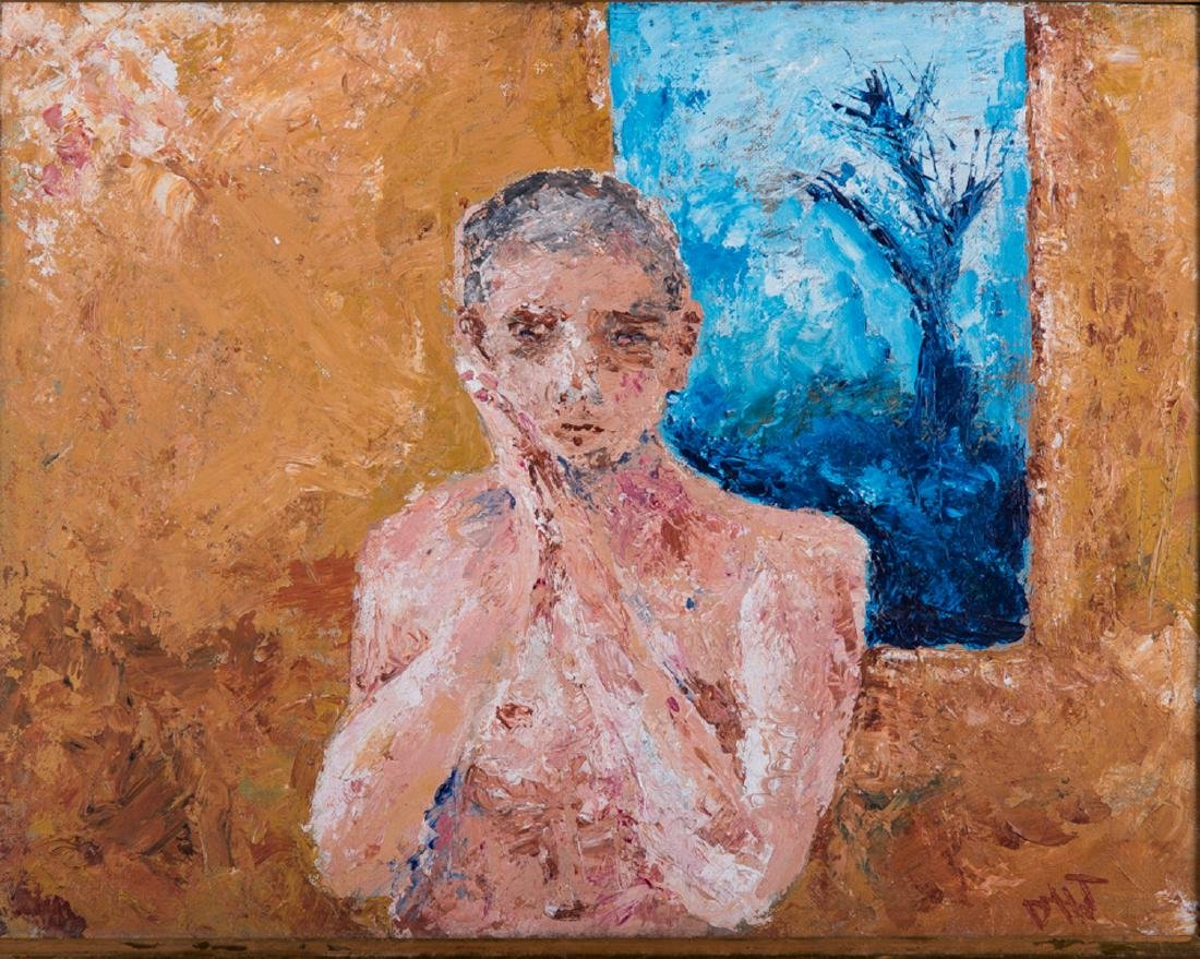 """Vintage Abstract Expressionist Oil Painting """"Portrait - 2"""