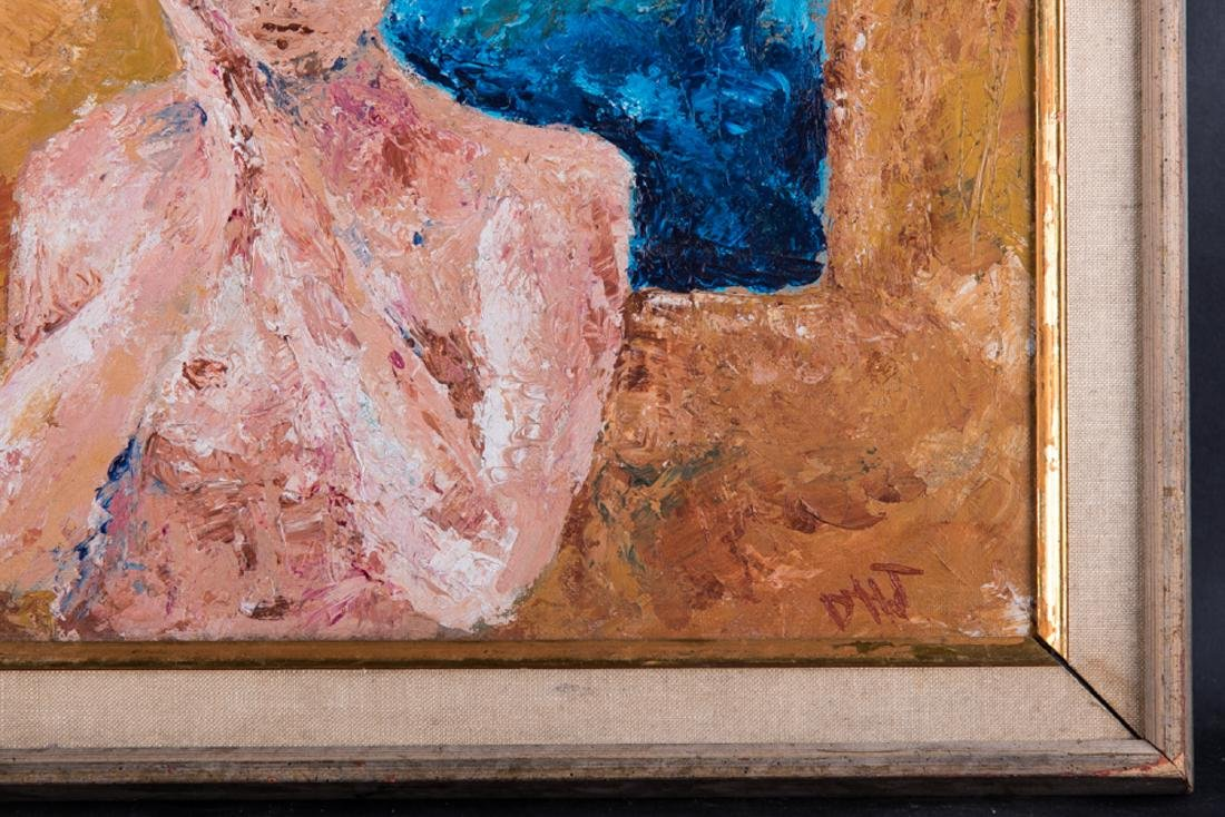 """Vintage Abstract Expressionist Oil Painting """"Portrait - 4"""
