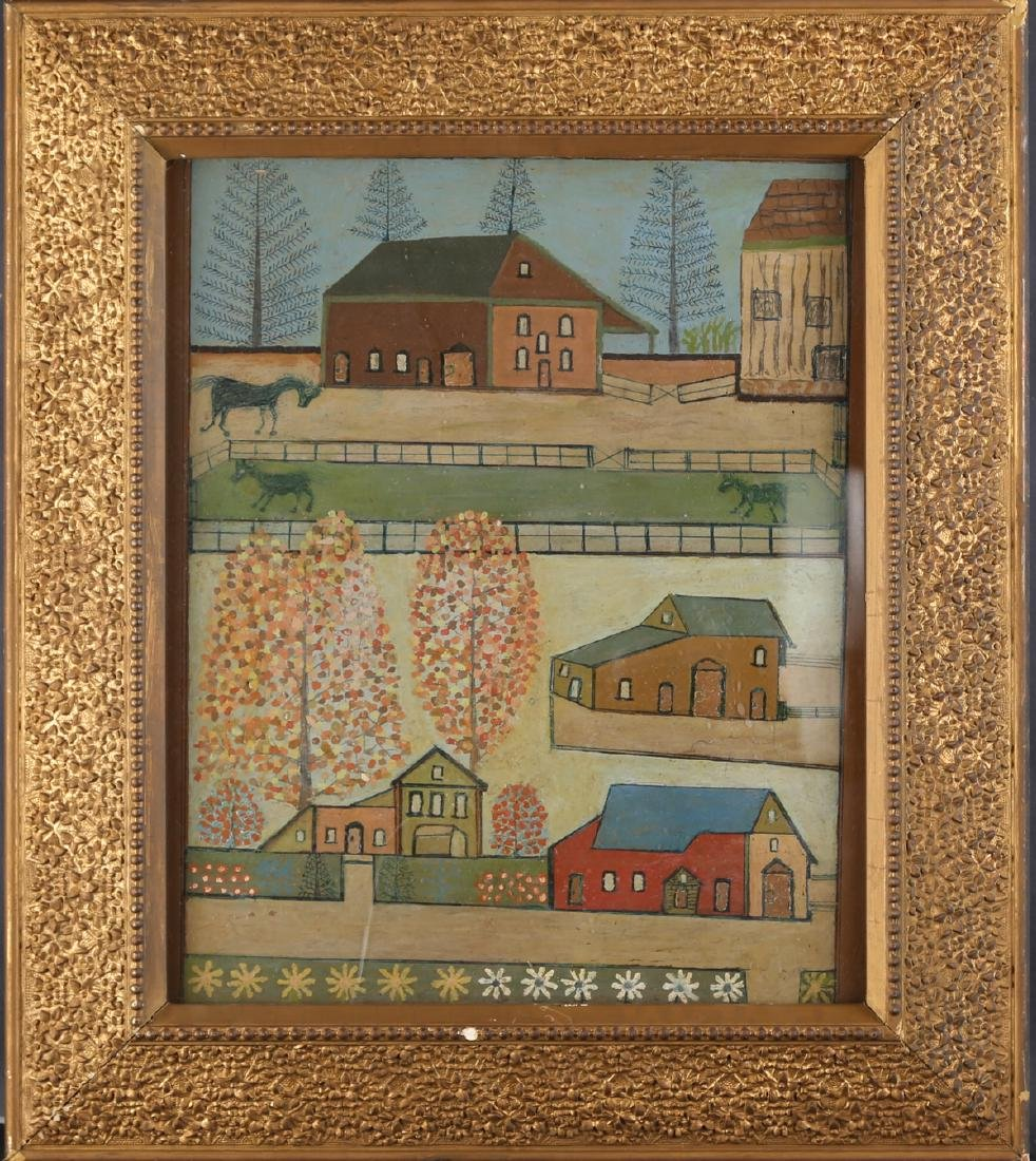 "Vintage Oil On Board ""Houses on Manor """