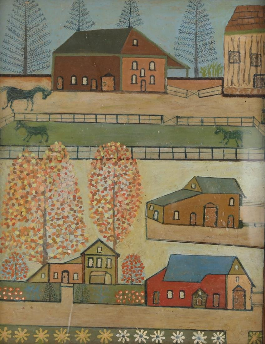 "Vintage Oil On Board ""Houses on Manor "" - 2"