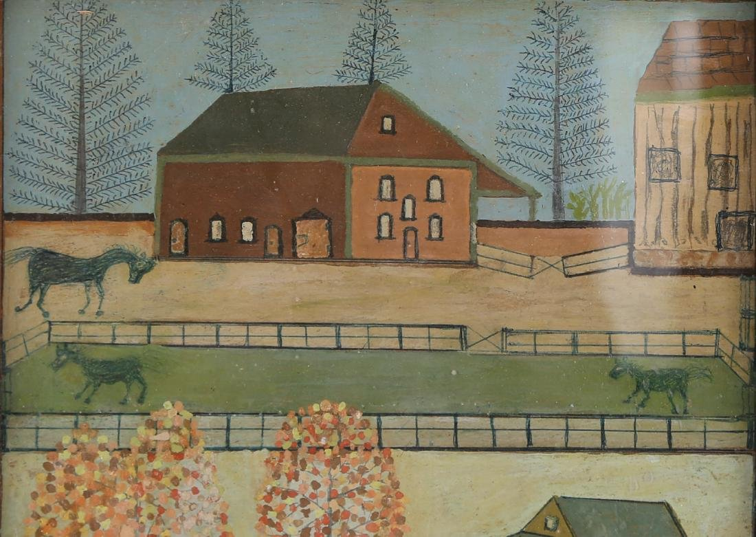 "Vintage Oil On Board ""Houses on Manor "" - 3"