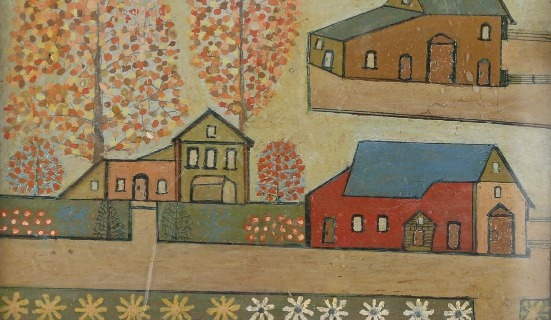 "Vintage Oil On Board ""Houses on Manor "" - 4"