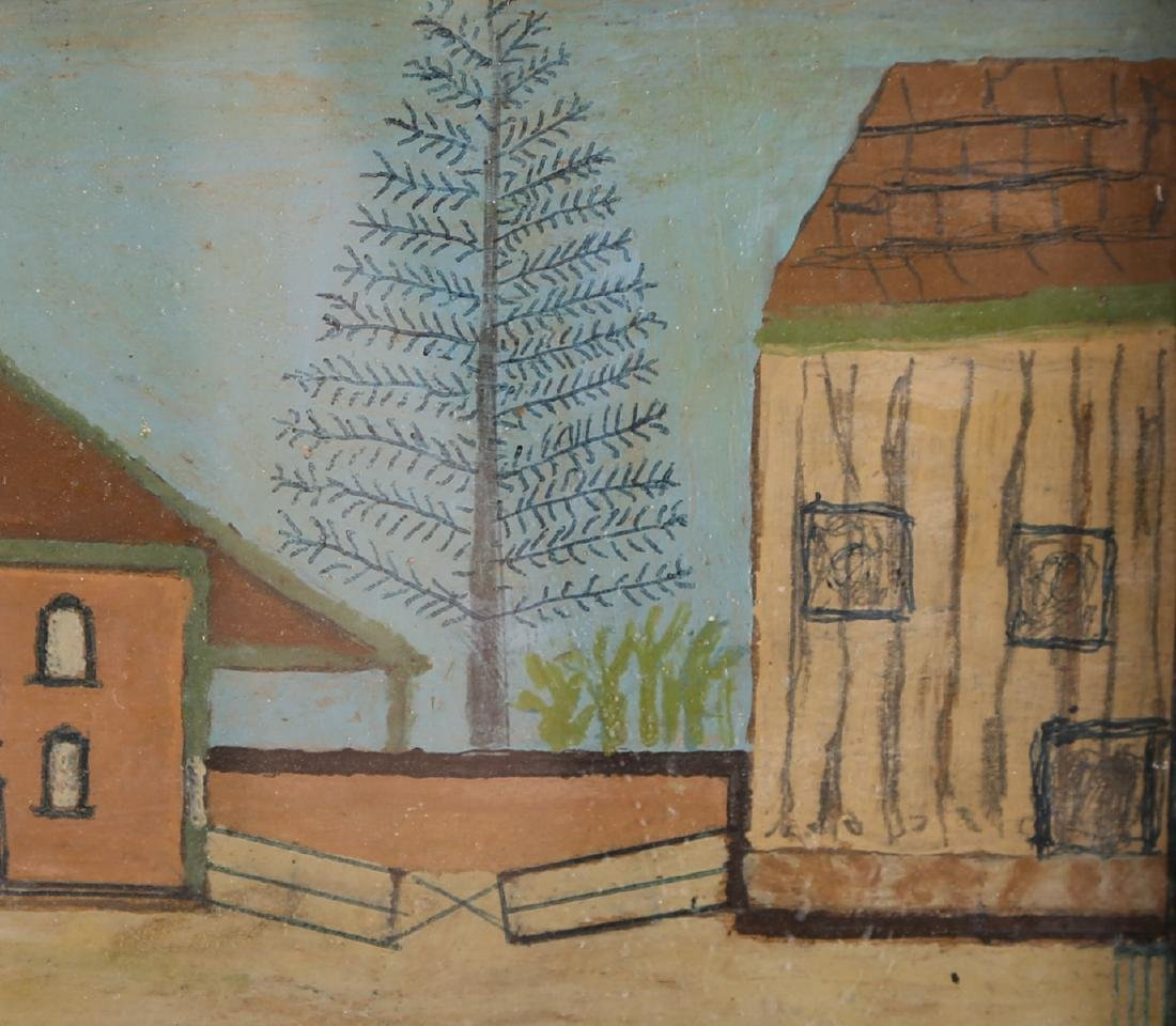 "Vintage Oil On Board ""Houses on Manor "" - 5"