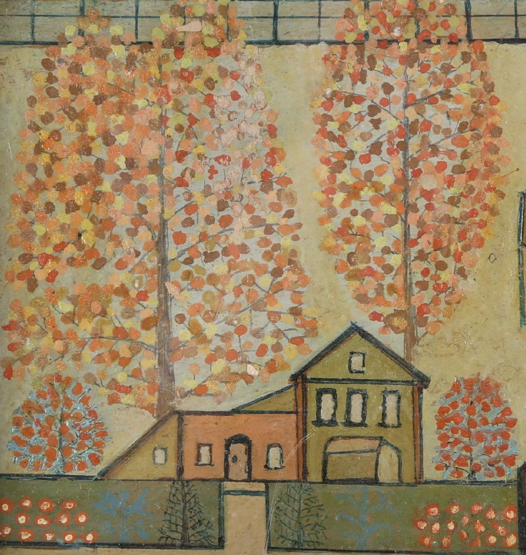 "Vintage Oil On Board ""Houses on Manor "" - 7"