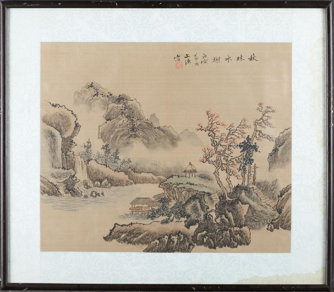 """Antique Chinese Watercolor On Silk """"Waterside Pavilion"""