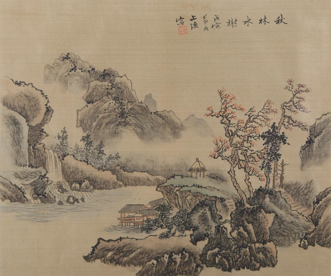 """Antique Chinese Watercolor On Silk """"Waterside Pavilion - 2"""
