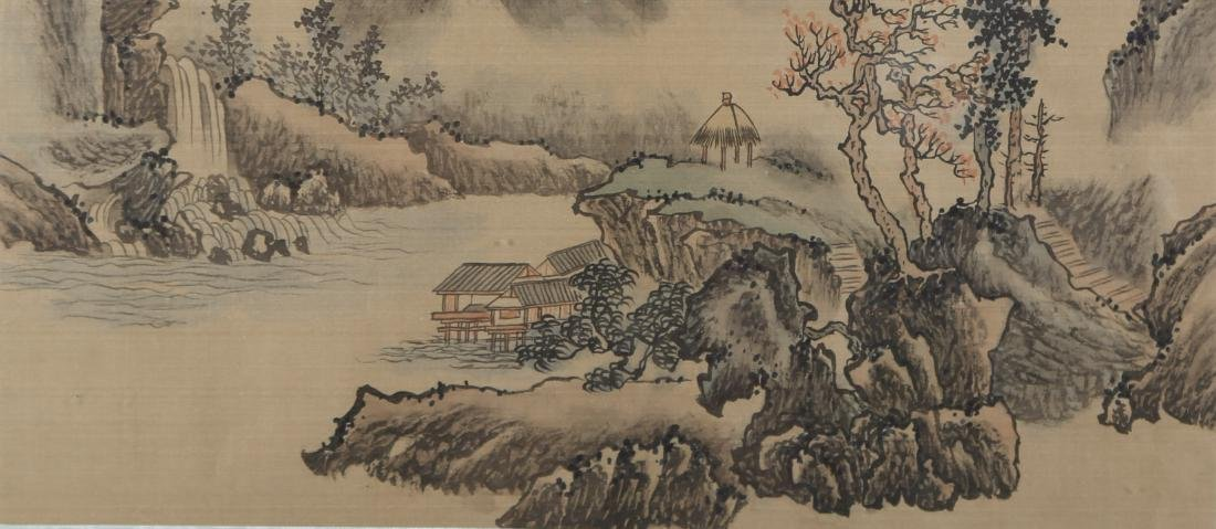 """Antique Chinese Watercolor On Silk """"Waterside Pavilion - 4"""
