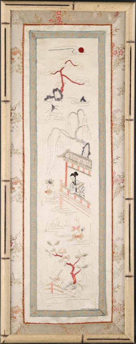 """Vintage Chinese Embroidery On Silk """"Pavilion by"""