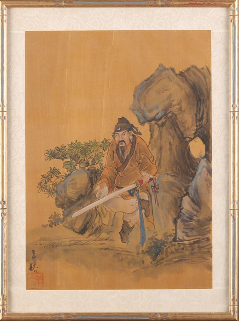 """Antique Chinese Watercolor On Silk """"Scholar-officials"""""""
