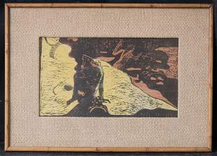 "Paul Gauguin(1848-1903)Early Woodcut Print ""Auti Te"