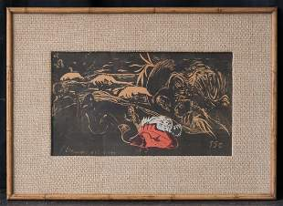 "Paul Gauguin(1848-1903)Early Woodcut Print ""L"" Univers"