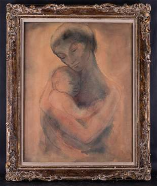 """Antique Abstract Watercolor On Paper """"Mother And Baby"""""""