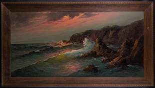 Beautiful Large VIntage Realist/Nautical Landscape